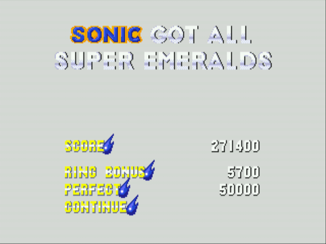 Sonic 3 Complete - Misc Completion - SONIC GOT ALL SUPER EMERALDS - User Screenshot